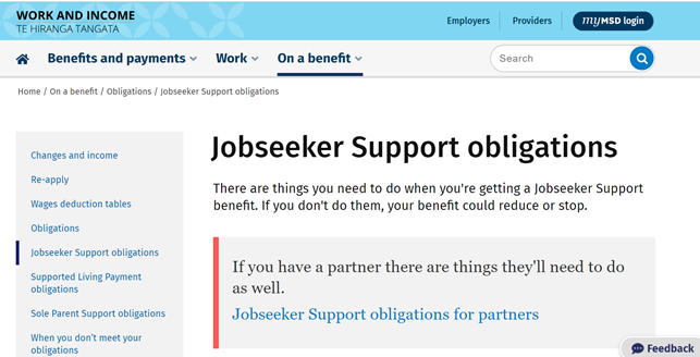 Jobseeker support obligations