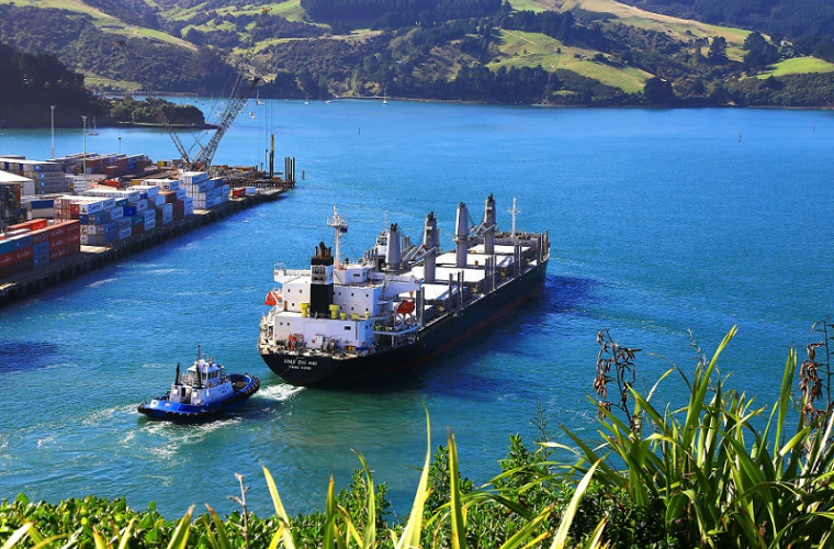 Container ship leaving Port Chalmers, Dunedin